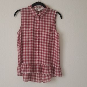 Plaid Chiffon Tank Top with Double Pockets